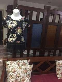 (BNWT) Chinese New Year Special-Ladies Applemints Floral Black Blouse