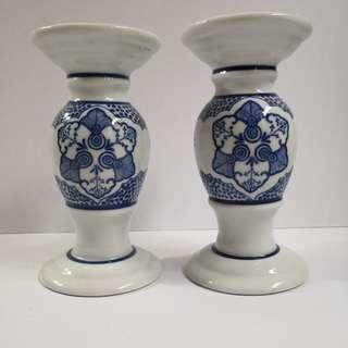 Vintage Style Porcelain Candle Holder - Set of 2