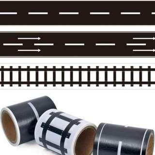 Train Tracks and roads stickers stripe roll art and craft children kids toys