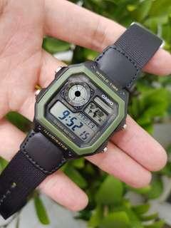 Guarantee 100% authentic brand new Casio Watch Or Full Refund, Water Resistant 100M, 10 Years Battery Life, Black Nylon Band AE-1200WHB-1BV(only 1 available, rarely in shops ) unisex watch AE 1200, ae1200, ae1200whb Casio Royale,  watch sale
