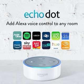 White Echo Dot (2nd Generation) Smart speaker w. Amazon Alexa Bluetooth wifi iphone voice control smart home broadlink sonoff harmony spotify