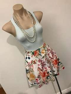 Ladies floral flowers skater summer short skirt size 6 8 Xs s