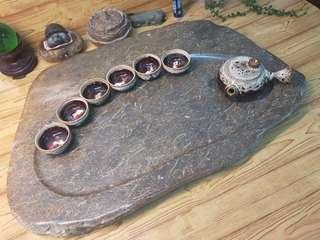 滿花貝殼化石茶盤