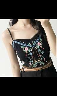 Boho Floral Embroidery Top Brand New