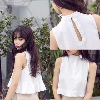 [NEW] BABYDOLL WHITE CROP TOP
