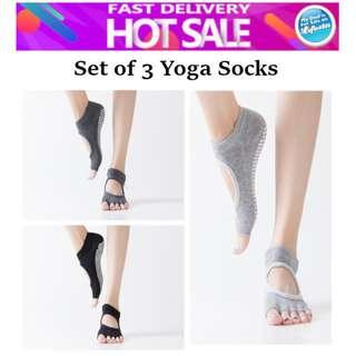 Set of 3 Yoga Socks Anti-slip Stockings Exercise Ankle Grip Five Fingers Fitness