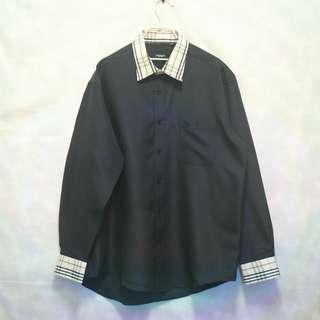 三件7折🎊 Burberry 訂製翻玩長袖襯衫 襯衫 黑 經典格紋 電繡logo 極稀有 老品 復古 古著 Vintage