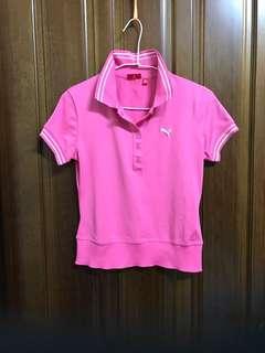 PUMA 彪馬 粉色 台灣製 短袖上衣 Polo衫 素色 彈性布料 運動 休閒上衣