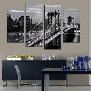 4pcs night view canvas painting