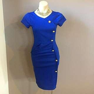 Ladies Blue Pinup Vintage Pencil Wiggle Work Career Bodycon Dress Size 6 8 Xs S