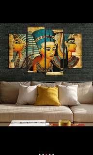 In stock - 4pcs Pharoah of Egyptian canvas painting