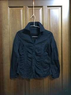 黑色 抓皺 設計感 長袖 襯衫 素色