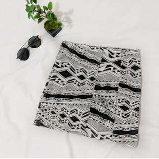 Black and white tribal patterned bodycon skirt