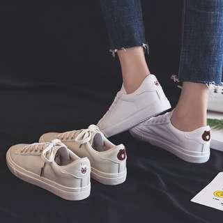 🚚 Minimalist line friends mr brown and sally white sneakers / shoes