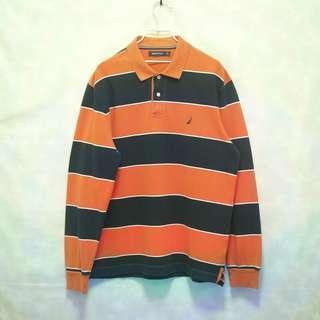 三件7折🎊 Nautica polo衫 長袖 橘深藍 拚色 電繡logo 極稀有 老品 復古 古著 Vintage