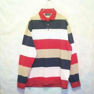 三件7折🎊 復古拚色polo衫 長袖 多色 拚色 極稀有 老品 復古 古著 Vintage