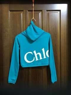 藍綠色 短版外套 長袖 字母 Chlo 連帽外套