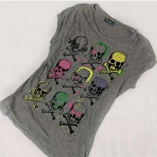Grey colourful skulls graphic shirt top