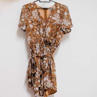 Brown floral wrap romper