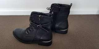 Black army styled leather ankle boots