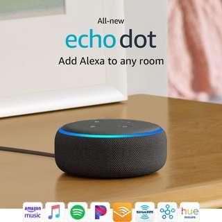 Charcoal Echo Dot (3rd Generation) Smart speaker w. Amazon Alexa wifi Bluetooth spotify iphone voice control broadlink smart home sonoff harmony