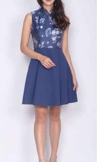 BNWT AWE Navy Jadie Oriental Emboss Cheong Sam Dress