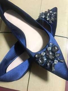 Zara Classy Satin Embellished Flats