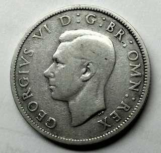 1942 UK 2 Shillings King George VI Silver Coin