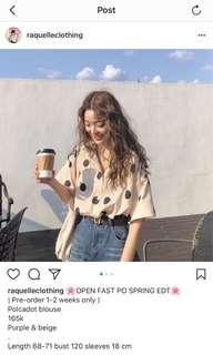 polka cream shirt