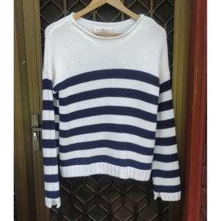 H&M Striped Knit Jumper Navy White Knitted Top Topshop Missguided Forever 21