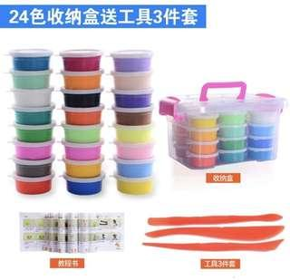 24 Colourful Clay with storage box