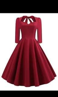🚚 紅色復古領結洋裝