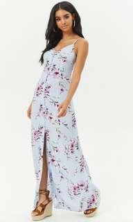 🚚 BNWT Forever 21 Slit Front Floral Maxi Dress in Blue