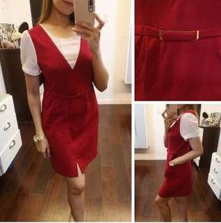 Red & white Buckle Dress