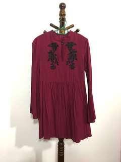 Zalora Burgundy Dress