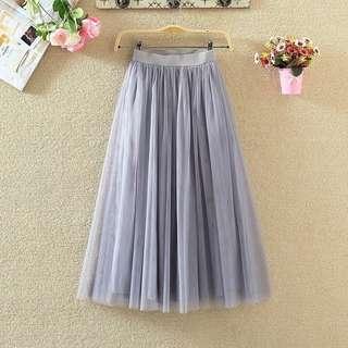 Anna Lace Mesh Grey Skirt