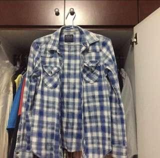 zara blue checkered/plaid flannel shirt