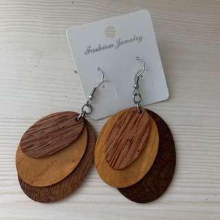 Oval 3-tone Wooden Earrings