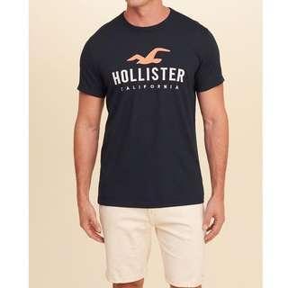 🆕Hollister 男/刺繡logo 短袖T恤 T-shirt 深藍