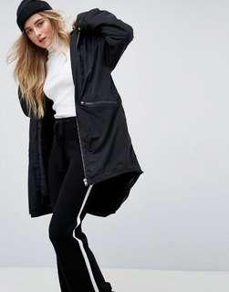 ASOS 內刷毛保暖 中長外套 風衣 rain jacket