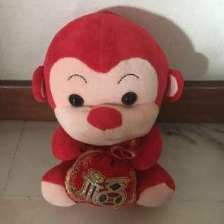 Red blessings monkey soft toy