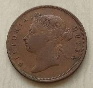Straits Settlements 1888 Cent Coin With Good Details