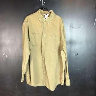 🚚 古著carhartt 芥末綠黃襯衫c9