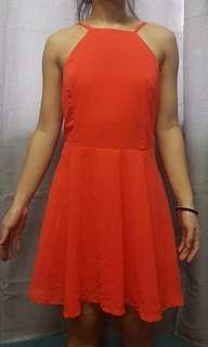 BRIGHT ORANGE HALTER DRESS