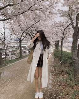 🚚 (全新免運)韓版百搭雙排釦寬鬆長版風衣外套