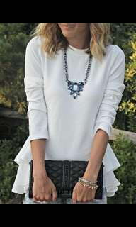 White long sleeve blouse 長袖拼接雪紡荷葉邊上衣