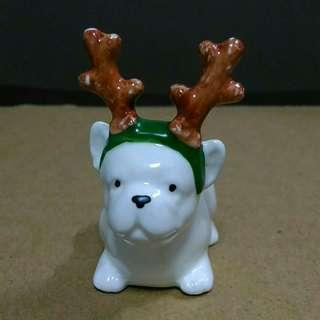 Porcelain Frenchie Dog with Reindeer Antlers
