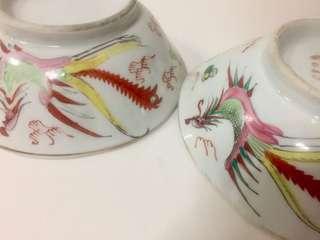 Fine Pair of Chinese Porcelain Scallop Rim Dragon & Phoenix Bowls; c. 1920s.