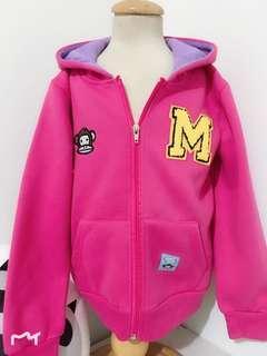 🚚 [現貨出清] 13碼 長袖外套 連帽外套 長袖 連帽 外套 背心 保暖 帽子 童裝 粉紅色 紫色 猴子 M