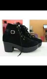 Ankle High Black Boots with Gold Studs #onlinesale